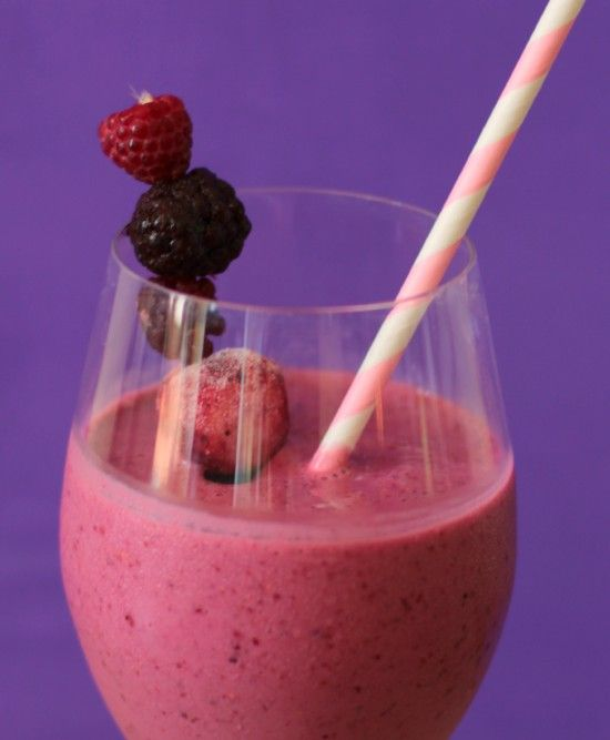 Red Wine Smoothie -- 1 1/2 cups red wine (i.e. zinfandel or cabernet) - 1/2 cup Greek yogurt -  1 1/2 cup frozen raspberries - 1 cup frozen blueberries -- Notes: