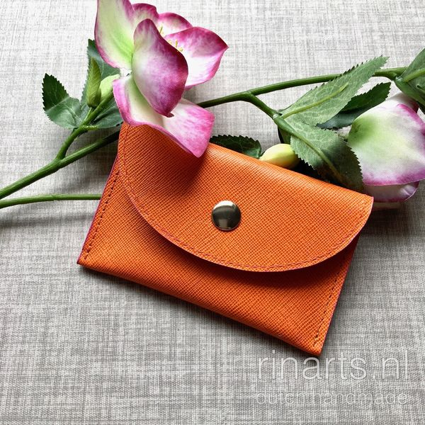 Cardholder/ leather card case in orange Saffiano leather. Orange and pink leather wallet with two compartments.