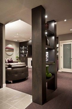 Basement Design Idea - Good way to hide a column and make it something functional