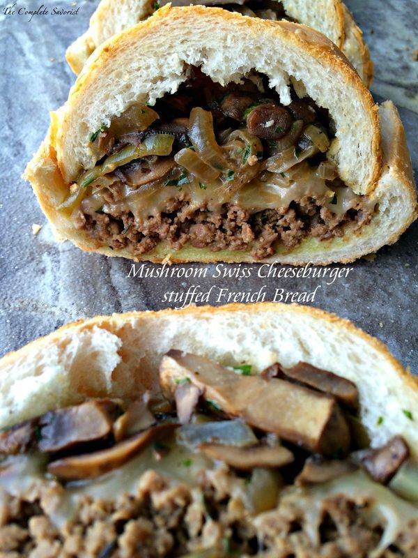 Mushroom Swiss Cheeseburger Stuffed French Bread ~  Ground beef in a mustard sauce layered in a hallowed loaf of French bread topped with cheese, mushrooms, and onions ~ The Complete Savorist