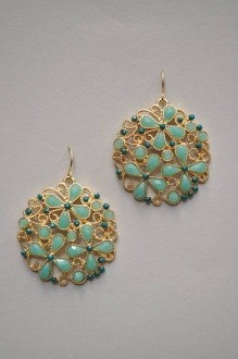 These round, gold scroll earrings are set with min…