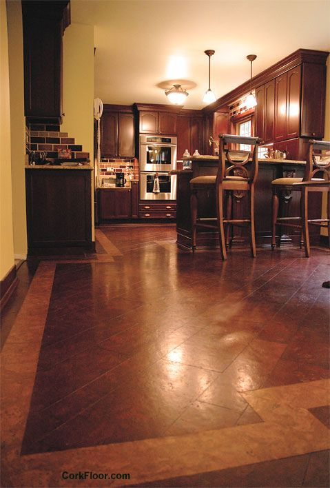 Would it be crazy to cover all our tile with Cork? Absorbs sounds? Dust and mold repellant? Beautiful Red Mahogany Cork Kitchen Floor - this is what Roseann wants