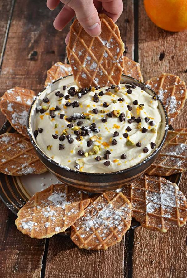Cannoli Dip!  This guilt free recipe is delicious and NO ONE can believe that it's lightened up!