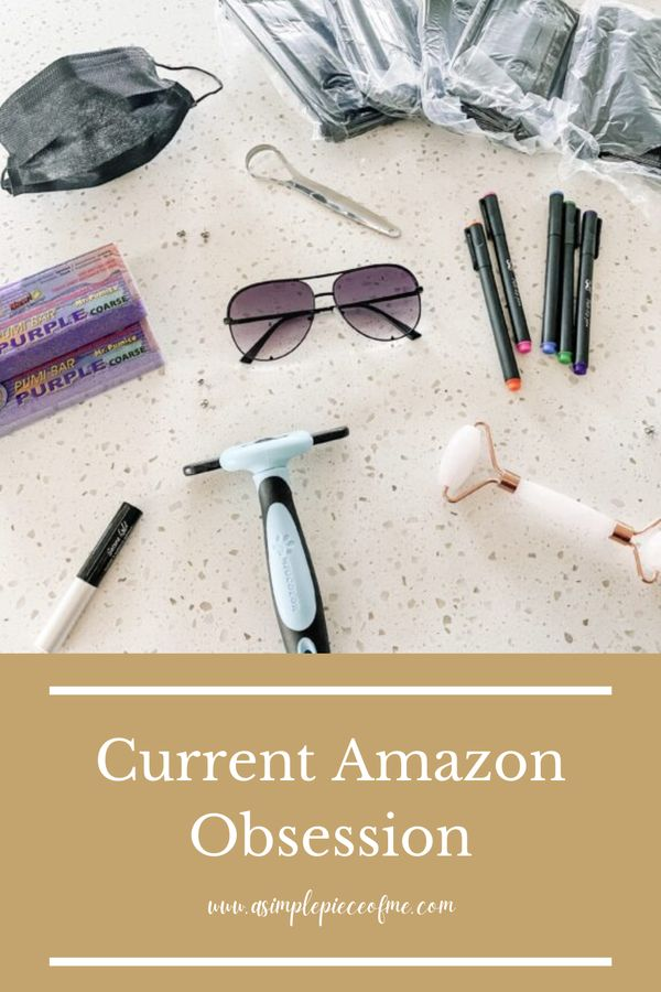 Sharing my current favorite Amazon purchases that Ive been loving! Visit www.asimplepieceofme.com for all the details. #amazon #amazonfavorites #shopping #favorites #sunglasses #pens #masks #giftguide #guide