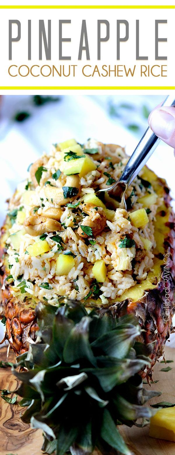 Sweet, slightly creamy Hawaiian Pineapple Coconut Cashew Rice COOKED IN pineapple juice, crushed pineapple and coconut milk, brightened by cilantro, lime and roasted cashews  – HEAVENLY!   An easy side for any main dish and impressive enough for company.