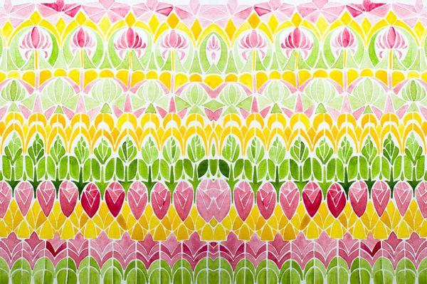 Watercolor patterns studies #2 by Serena Olivieri, featuring roses, artichokes,
