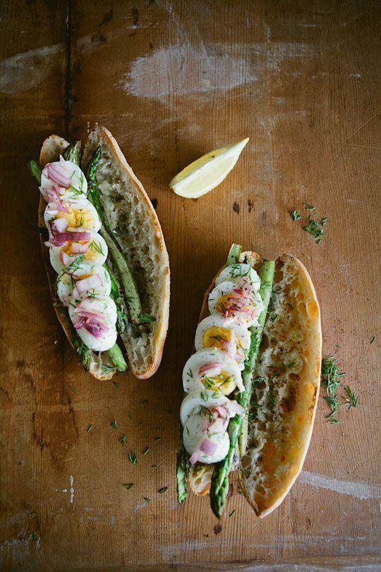 Boiled Egg, Seared Asparagus & Pickled Onion Sandwiches