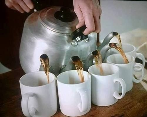 A teapot with several spouts.   27 Items All Tea Lovers Need In Their Lives