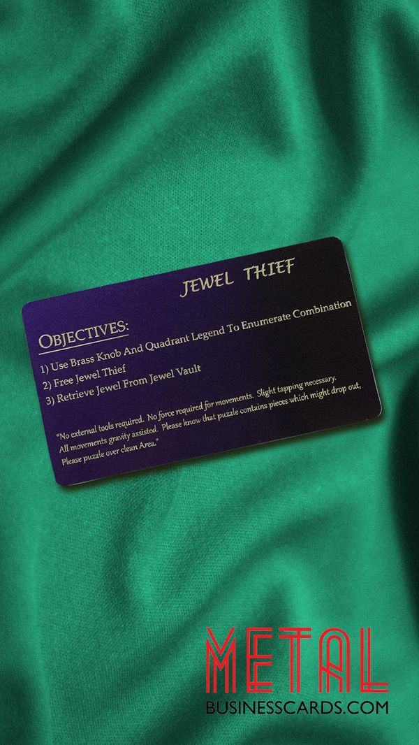 Our metal cards don't have to be used as business cards, there are a multitude of ways you can show them off! For example, these anodized dark purple aluminum cards were actually created to be instructions to a Tumbler Take Apart Puzzle 🧩