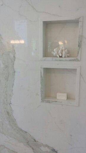 Porcelain slab shower floor to ceiling