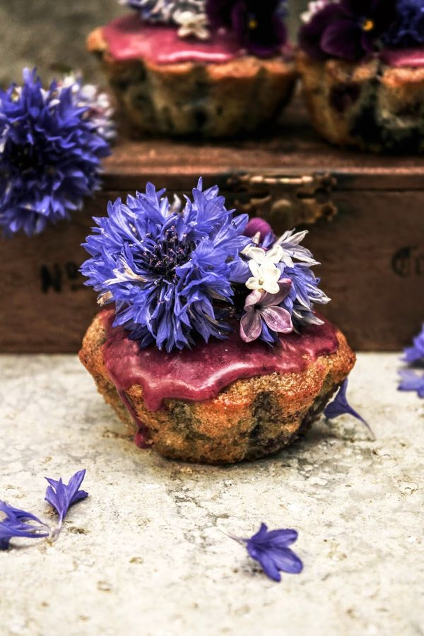 glazed blueberry muffins with cornflowers