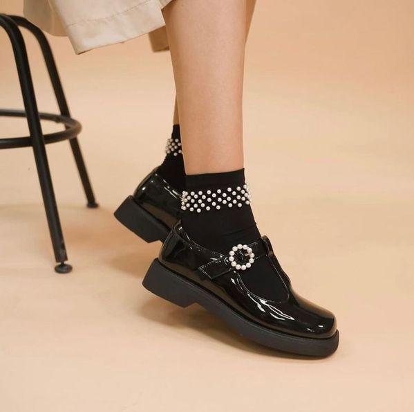 Black Patent Leather Buckle Leather Platform Shoes