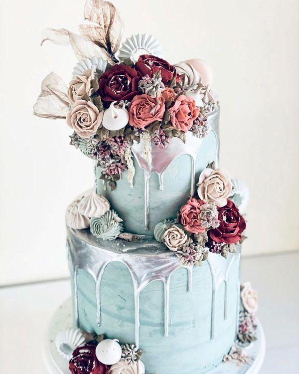 42 Yummy And Trendy Drip Wedding Cakes ❤ drip wedding cakes colored silver #weddingforward #wedding #bride