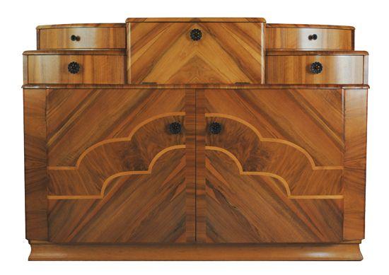 Art Deco Walnut Cocktail Cabinet, British c.1930