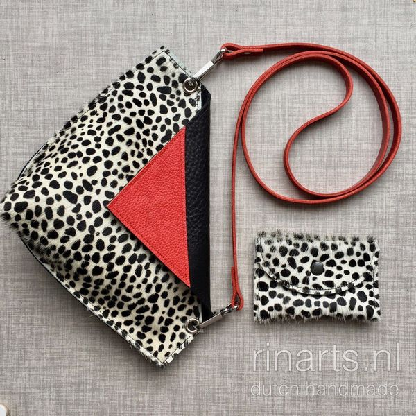 Cheetah print crossbody bag with red detail