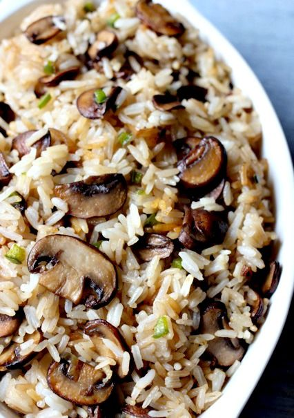 Mushrooms & Rice - use sweet red or yellow pepper instead of jalapeno