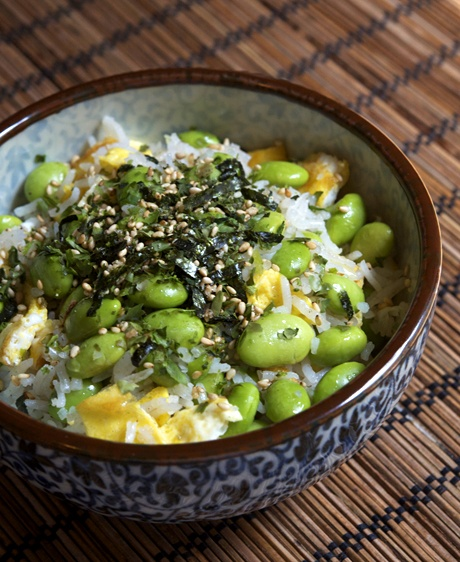 Edamame fried rice. Ingredients: edamame, oil, eggs, scallions, rice, salt, pepper, furikake. Recipe from appetite for china.