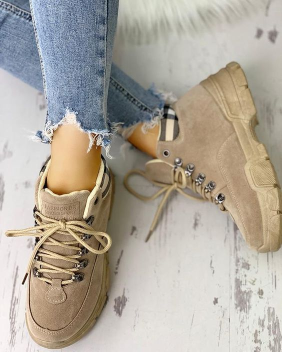 Suede is always in fashion Short lace-up boots