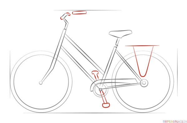 How to draw a bicycle step by step. Drawing tutorials for kids and beginners.