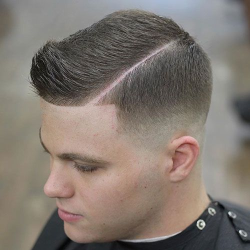 Mid Bald Fade with Hard Side Part