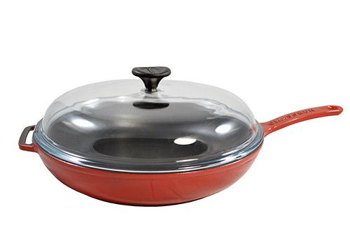 Red Frying Pan, W/ Glass Lid, Dia 11""