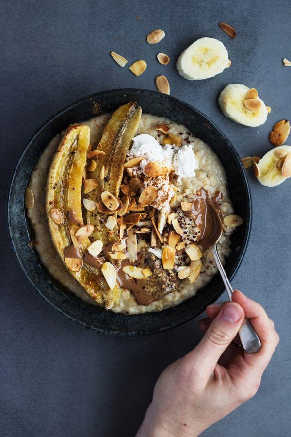 Tahini Porridge with Roasted Banana   Toasted Almonds http://shanyaraleonie.com/recipes/tahini-porridge-with-roasted-banana-toasted-almonds/