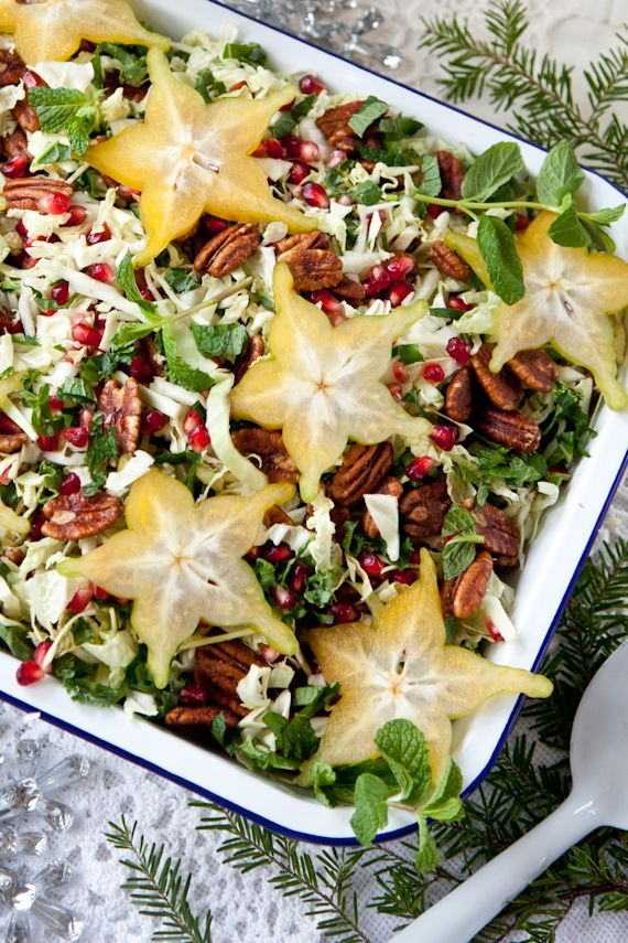 Festive Holiday Slaw: a beautiful addition to your holiday table (raw, vegan).