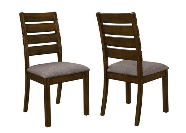 2 Wiltshire Pecan Grey Wood Padded Fabric Slat Back Dining Chairs