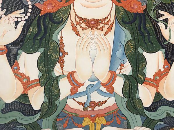 A detail of Chenrezigs hands in the thanbhochi. #BuddhistArt #Thangka #TibetanArt #TashiDhargyal  #thanbhochi #TibetanGallery #PreserveTibetanArt #ColoringForMeditation