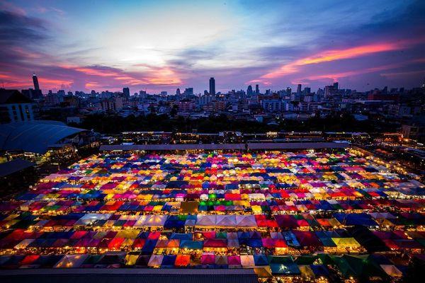 Colorful Train Night Market Ratchada