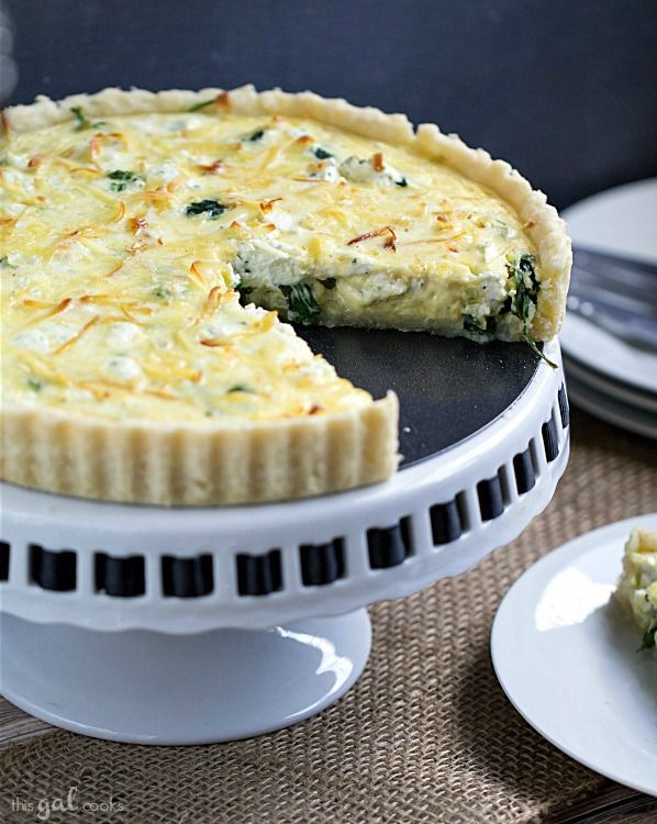 Spinach, Leek and Goat Cheese Tart - This Gal Cooks. This hearty, gluten free tart is perfect for breakfast or lunch. #quiche #brunch
