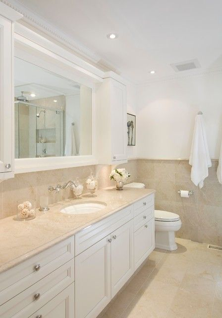 Crema Marfil Marble Bathroom Traditional with Bathroom Mirror Beige Counter