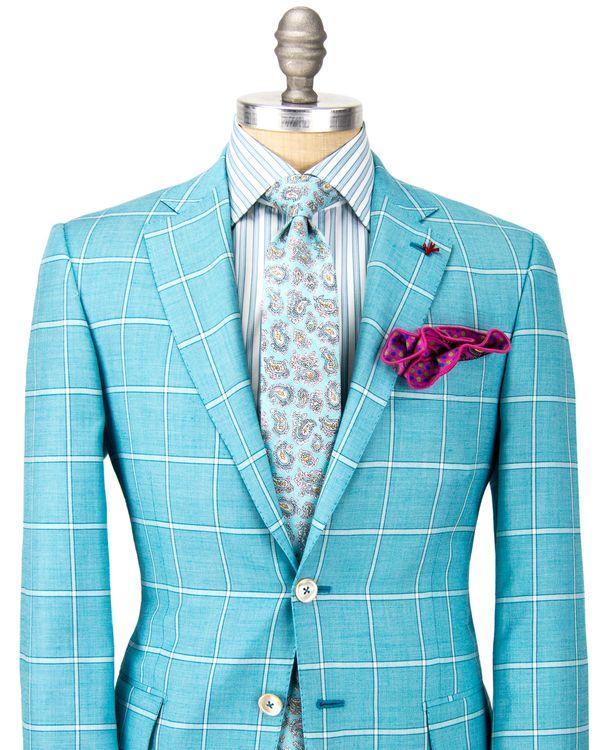 Isaia | Aqua Windowpane Sportcoat | Apparel | Mens