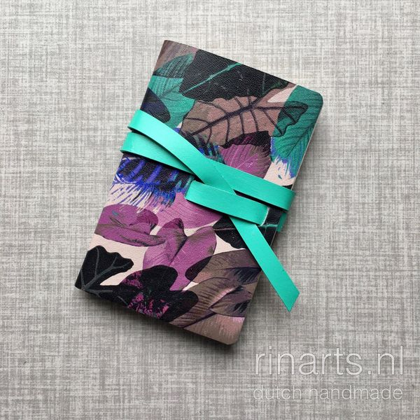 Black, pink and turquoise leather notebook / travel notebook / sketch book with leaves print. #monogrammednotebook