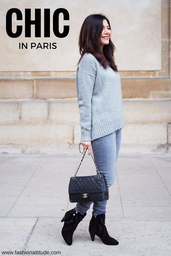 So CHIC in grey on grey outfit, with dashes of bla…