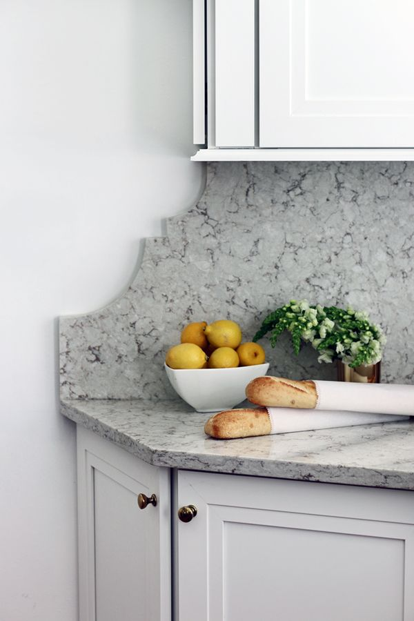 hunted interior: detail in quartz edge in the transition between upper & lower cabinets