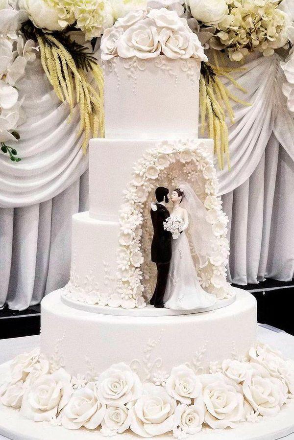 24 Outstanding Fondant Flower Wedding Cakes ❤ fondant wedding white black classy #weddingforward #wedding #bride