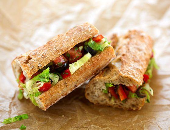 Mediterranean Salad-Stuffed Bread (Pan Bagnat)  http://www.vegkitchen.com/recipes/mediterranean-salad-stuffed-bread/