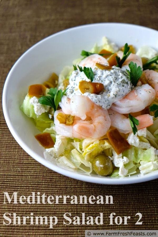 Mediterranean Shrimp Salad for Two--with spiced Greek yogurt dressing, served either as a salad or on toast. www.farmfreshfeasts.com
