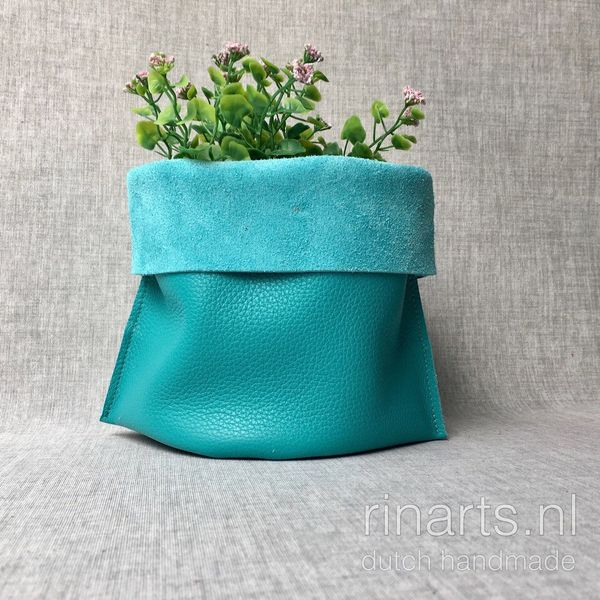 Leather storage basket in turquoise green color