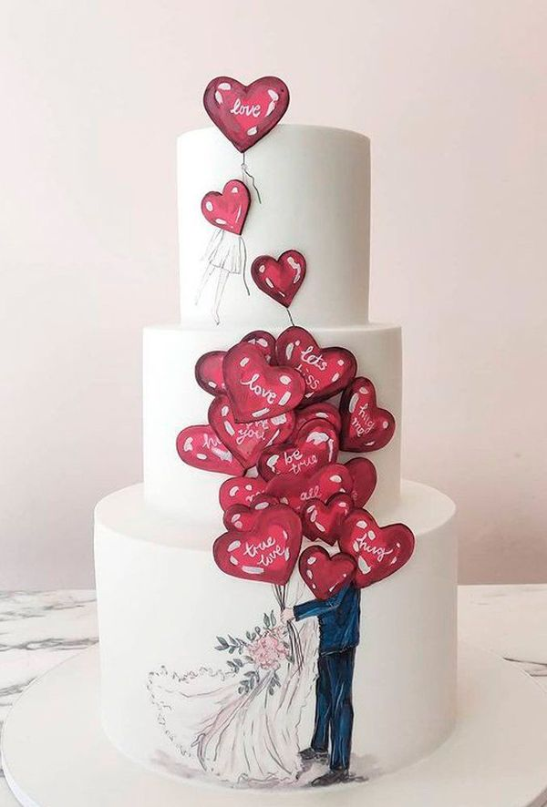 A Catalog Of Stunning And Trendy Hand-painted Wedding Cakes ❤ hand painted wedding cakes #weddingforward #wedding #bride