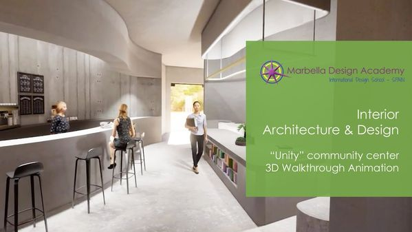 """Unity"" Interior Architecture & Design project 3d render and walkthrough at Marbella Design Academy"