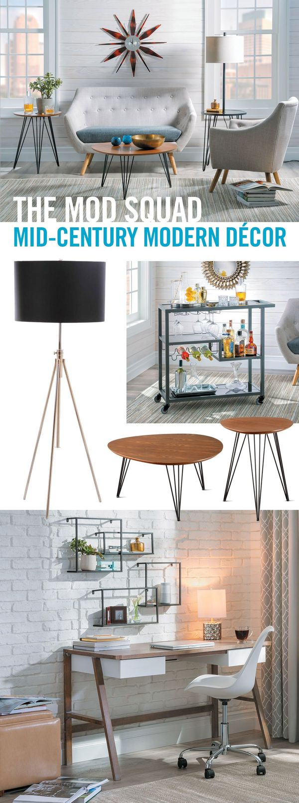 If youre looking for furniture for small spaces, youll love the mid-century bench and arm chair. Create an entire look with a wall clock, wall shelves, table set, bar cart, floor lamp, and mid-century desk with chair. Family and friends who visit your home will be impressed with your sense of style and may even ask you for design tips.
