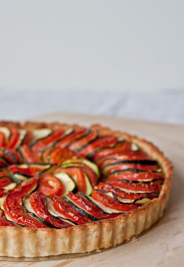 Tomato Zucchini Tart. A beautiful (SIMPLE!) layered vegetable tart to impress guests during the summer!