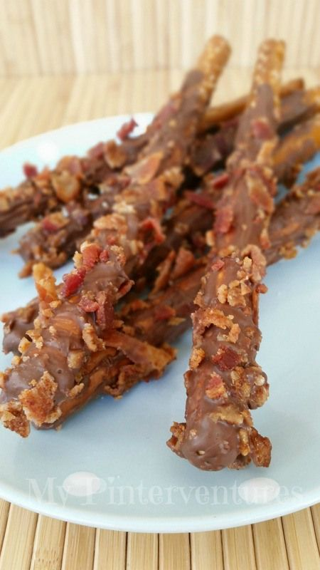 Chocolate and Bacon Covered Pretzels ~ Use good quality chocolate to make these.. not those candy melts!!