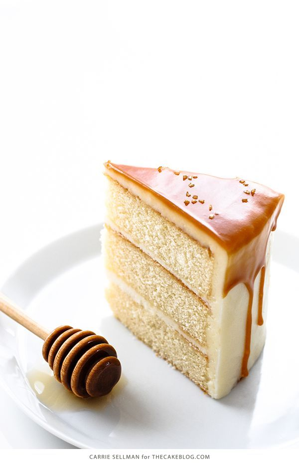 Honey Butter Cake. White vanilla cake topped with a creamy honey buttercream and caramel!