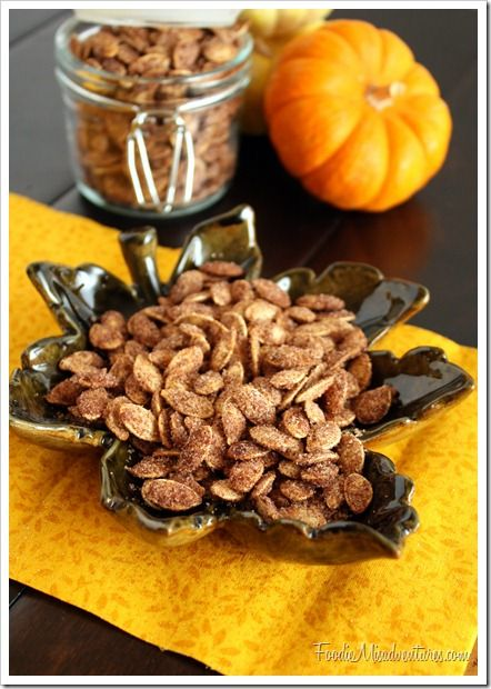 CINNAMON SUGAR PUMPKIN SEEDS 2 cups raw pumpkin seeds 2 tablespoons butter, melted 1/2 cup white sugar 1 tablespoon ground cinnamon