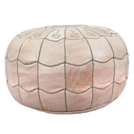 Marrakesh Leather Pouf in Natural from Joss and Main
