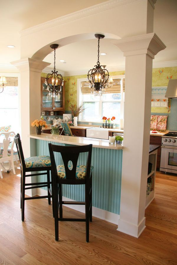 Accent color under bar for interest, and beadboard to prevent marks from shoes. love it!