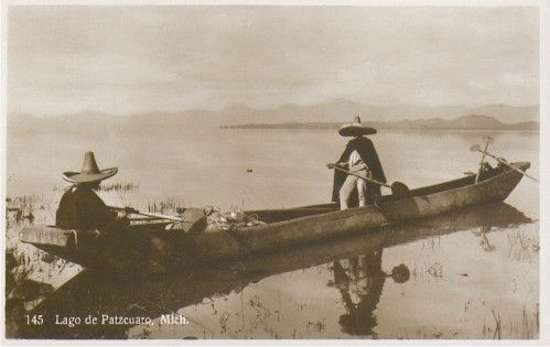 Hugo Brehme. Postal nºB 145 Lago de Patzcuaro, Mich., tarjeta línea azul.